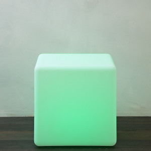 A stylish cube seat which lights up for some elegant furniture garden lighting