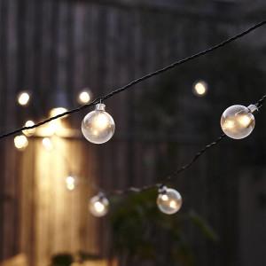 Elegant string lighting garden lighting with bare light bulbs on black wire