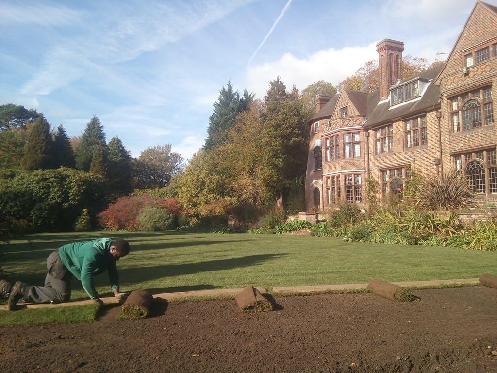 Laying lawn turf in Autumn